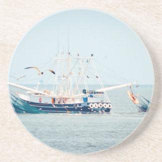 Blue Shrimp Boat on the Ocean Coaster