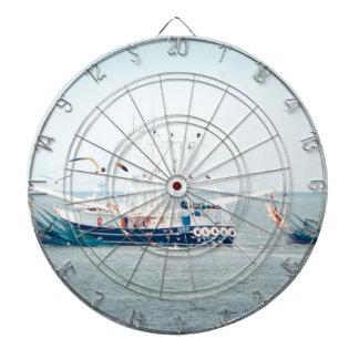 Blue Shrimp Boat on the Ocean Dartboard