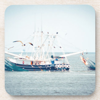 Blue Shrimp Boat on the Ocean Drink Coasters