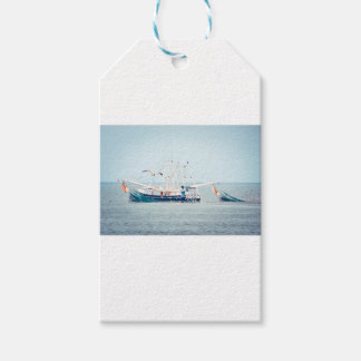 Blue Shrimp Boat on the Ocean Gift Tags