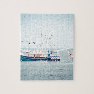 Blue Shrimp Boat on the Ocean Jigsaw Puzzle