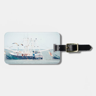 Blue Shrimp Boat on the Ocean Luggage Tag