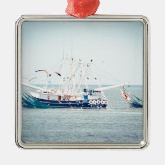 Blue Shrimp Boat on the Ocean Metal Ornament