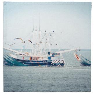 Blue Shrimp Boat on the Ocean Napkin