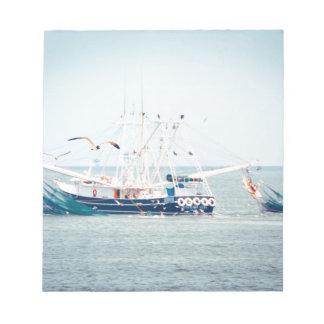 Blue Shrimp Boat on the Ocean Notepad