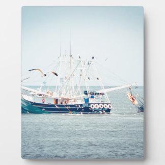 Blue Shrimp Boat on the Ocean Plaque