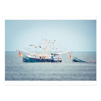 Blue Shrimp Boat on the Ocean Postcard