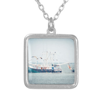 Blue Shrimp Boat on the Ocean Silver Plated Necklace