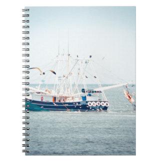 Blue Shrimp Boat on the Ocean Spiral Notebook
