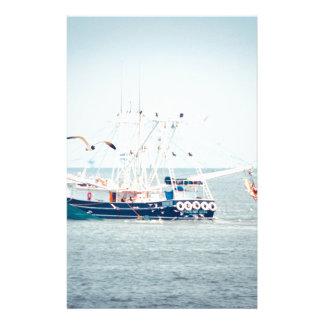 Blue Shrimp Boat on the Ocean Stationery