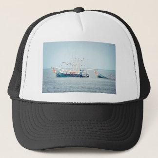 Blue Shrimp Boat on the Ocean Trucker Hat