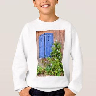 Blue shutters and flowers sweatshirt