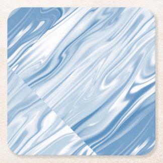 Blue Silk Square Paper Coaster