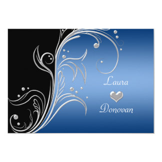 Blue Silver Black Floral Swirls Reception Only Card