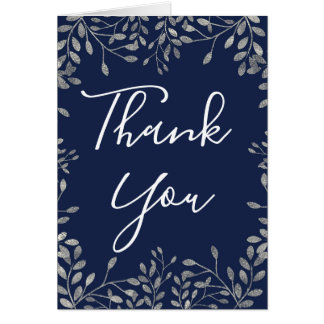 Blue & Silver Botanical Leaves Floral Thank You Card