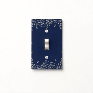 Blue & Silver Botanical Modern Wedding Elegant Light Switch Cover