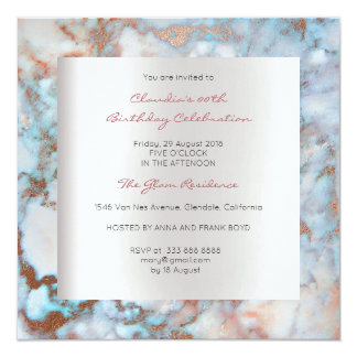Blue Silver Brush Pink Rose Marble Birthday Party Card