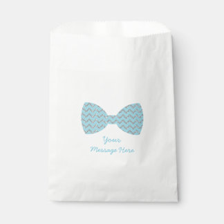 Blue & Silver Chevron Bow Tie Baby Shower Favour Bag