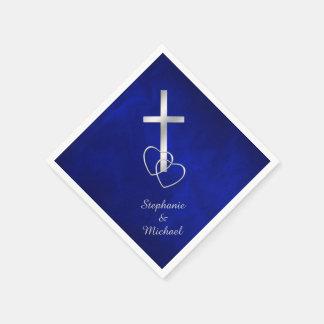 Blue Silver Christian Cross Wedding Paper Napkins