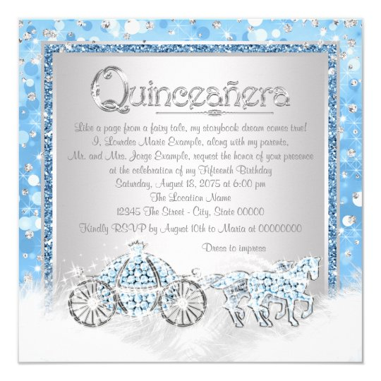 Blue Silver Cinderella Princess Quinceanera Card