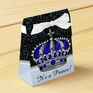 Blue Silver Crown Prince Boy Baby Shower Favor Boxes