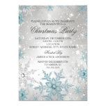 """Blue & Silver Crystal Snowflake Christmas Party 5"""" X 7"""" Invitation Card"""