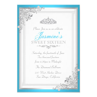 Blue Silver Damask & Tiara Sweet 16 Invitation