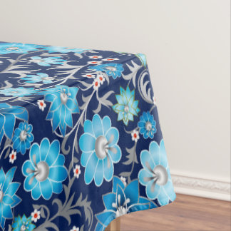 Blue silver floral pattern dining tablecloth