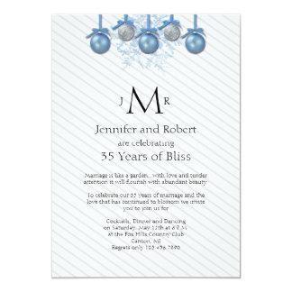 Blue Silver Glitter Ornaments Wedding Anniversary Card