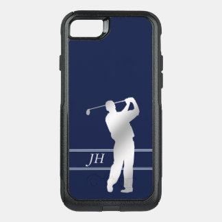 Blue Silver Golf Monogram OtterBox Commuter iPhone 8/7 Case