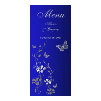 Blue, Silver Gray Butterfly Floral Menu Card