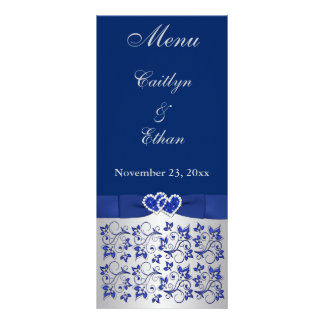 Blue, Silver Gray Floral, Hearts Menu Card Rack Card Template