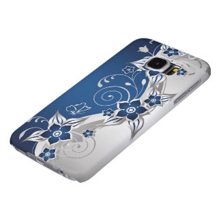 Blue & Silver Gray Floral Samsung Galaxy S6 Cases