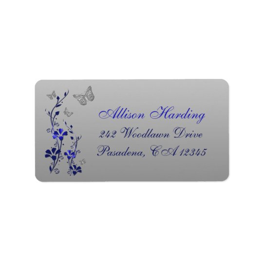 Blue, Silver Grey Butterfly Floral Return Address Label