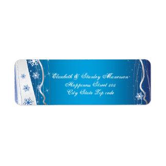 Blue, silver grey, white snowflake winter wedding return address label