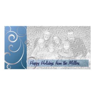 Blue & Silver Holiday Swirls Card
