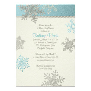 Blue Silver Ivory Snowflake Winter Baby Shower Invitation