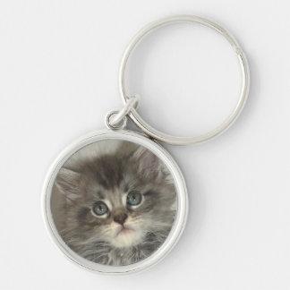 Blue silver kitten key ring