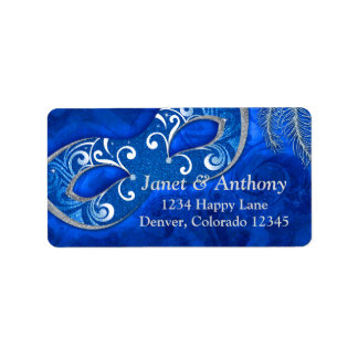 Blue Silver Masquerade Ball Wedding Address Label