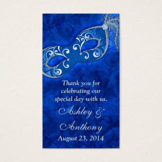 Blue Silver Masquerade Ball Wedding Favour Tags