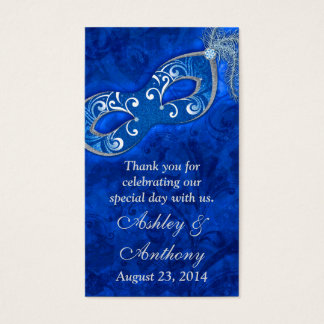 Blue Silver Masquerade Ball Wedding Favour Tags Business Card