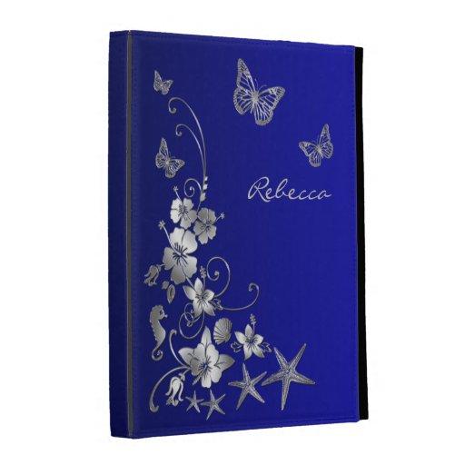 Blue, Silver Nautical, Floral iPad (1,2,3) Folio iPad Case