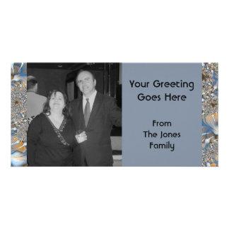 blue silver photo card