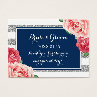 Blue Silver Pink Floral Wedding Favor Tags