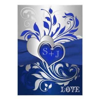 Blue, Silver Scrolls, Hearts Wedding Invitation