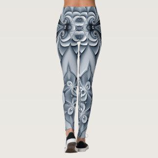 Blue Silver Silk Mandala Leggings