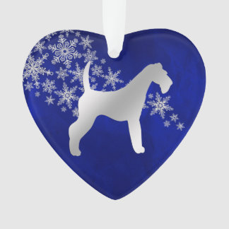 Blue Silver Snowflake Airedale Terrier Ornament