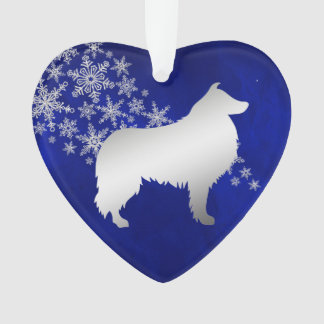Blue Silver Snowflake Collie Dog Ornament