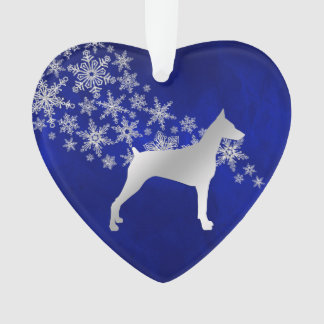 Blue Silver Snowflake Doberman Ornament