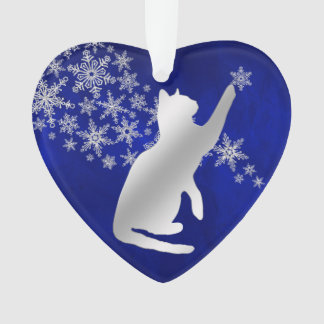 Blue Silver Snowflake Playful Cat Ornament